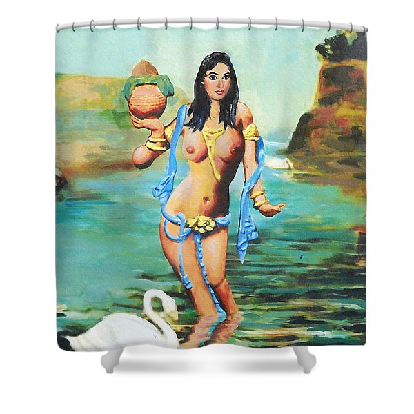 Fine Art Female Nude Asian River Goddess Multimedia Painting Shower Curtain