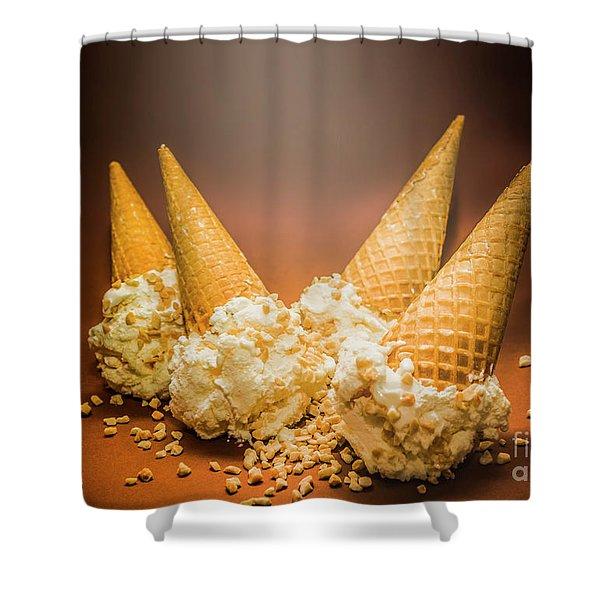 Fine Art Ice Cream Cone Spill Shower Curtain