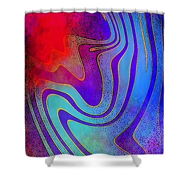 Fine Art Painting Original Digital Abstract Warp 3 Triptych A Shower Curtain
