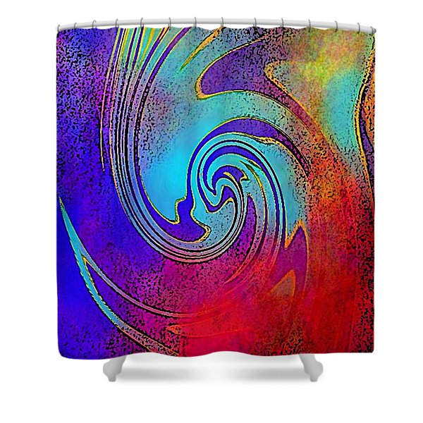 Fine Art Painting Original Digital Abstract Warp 3 Triptych C Shower Curtain