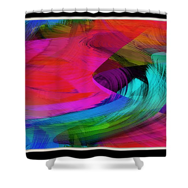 Fine Art Painting Original Digital Abstract Warp10a Triptych Shower Curtain