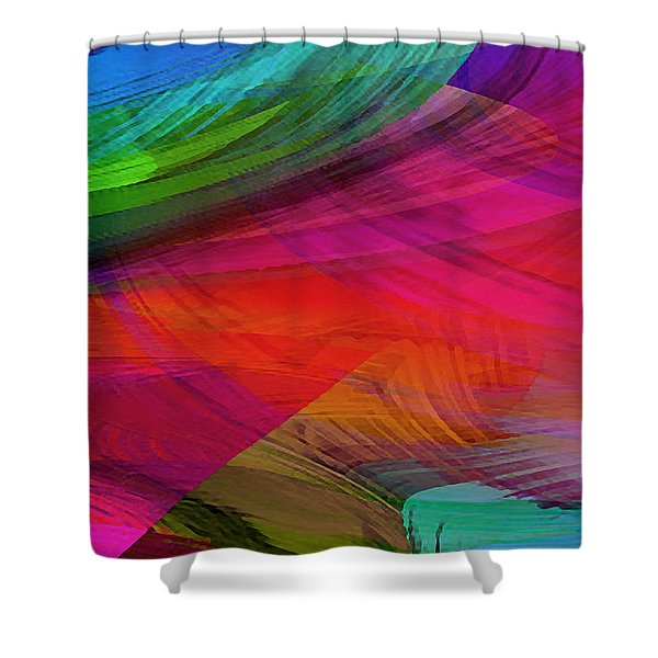 Fine Art Painting Original Digital Abstract Warp10a Triptych I Shower Curtain