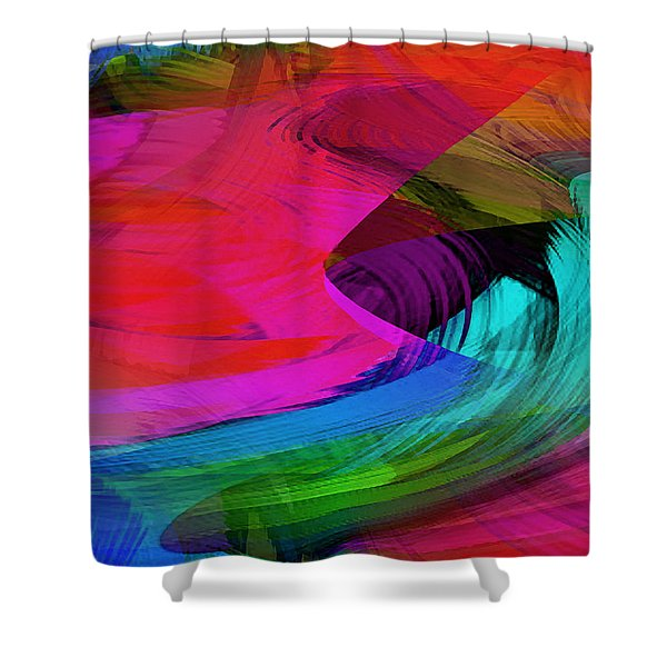 Fine Art Painting Original Digital Abstract Warp10a Triptych II Shower Curtain