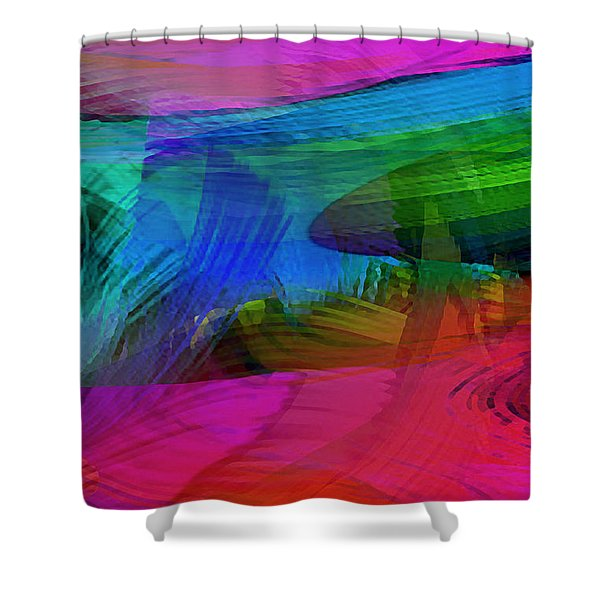 Fine Art Painting Original Digital Abstract Warp10a Triptych IIi Shower Curtain