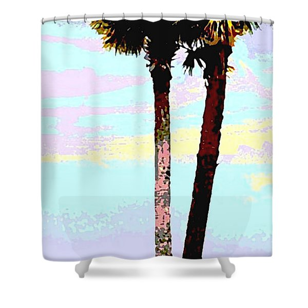Shower Curtain featuring the painting Fine Art Palm Trees Gulf Coast Florida Original Digital Painting by G Linsenmayer