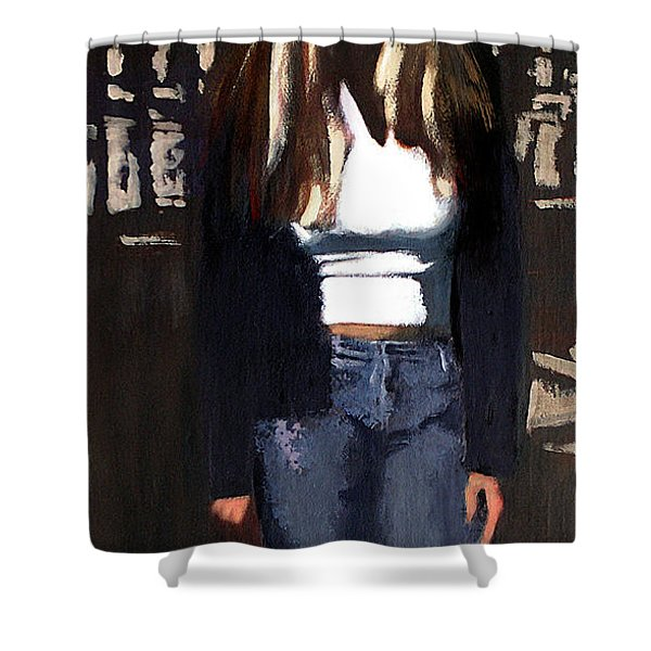 Shower Curtain featuring the painting Fine Art Traditional Modern Original Oil Psinting Eva by G Linsenmayer