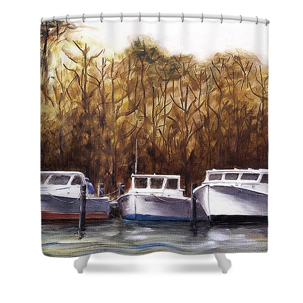 Fine Art Traditional Oil Painting 3 Workboats Chesapeake Bay Shower Curtain