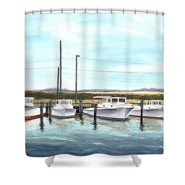 Shower Curtain featuring the painting Fine Art Workboats Kent Island Chesapeak Maryland Original Oil Painting by G Linsenmayer