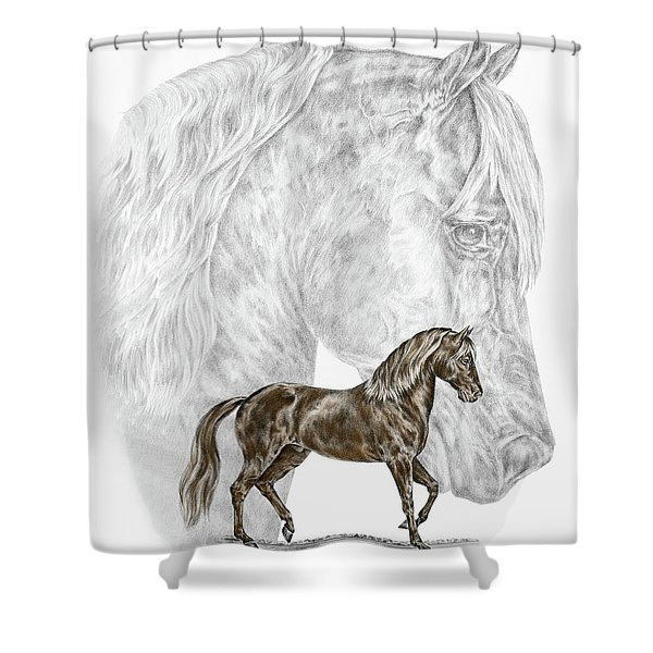 Fine Steps - Paso Fino Horse Print Color Tinted Shower Curtain