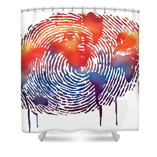 Finger Print Map Of The World Shower Curtain