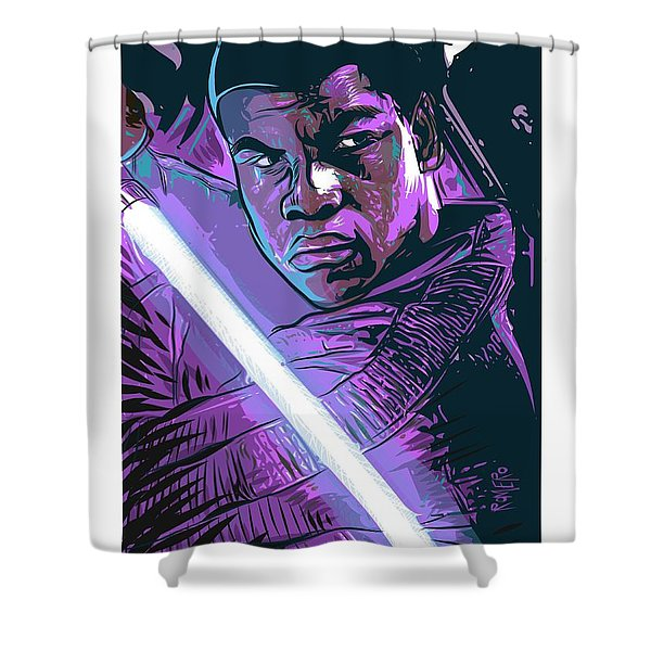 Shower Curtain featuring the digital art Finn by Antonio Romero