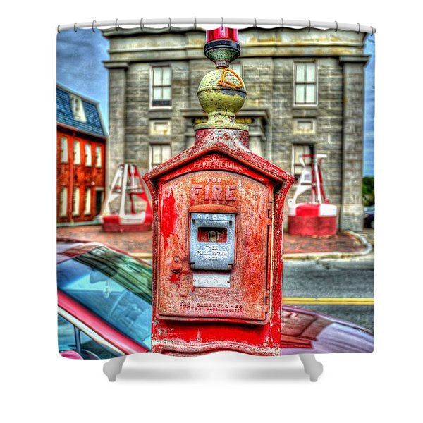 Fire Alarm Box 375 In Painterly Shower Curtain