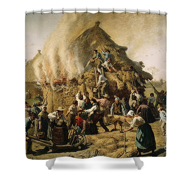 Fire In A Haystack, 1856 Shower Curtain