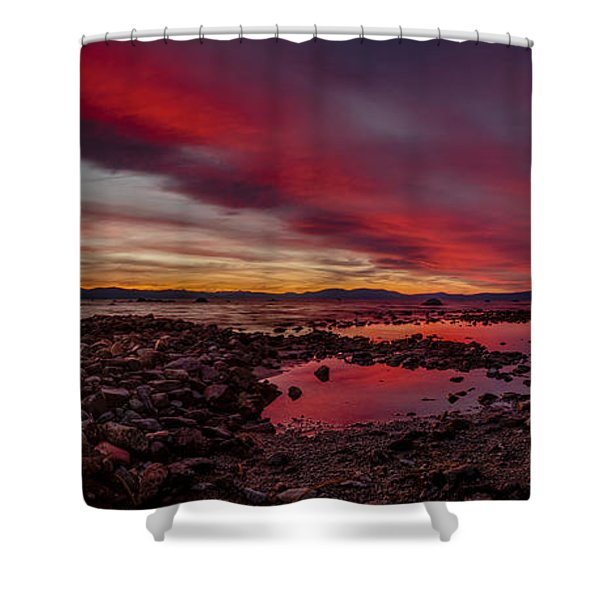Fire In The Sky At Cave Rock Shower Curtain