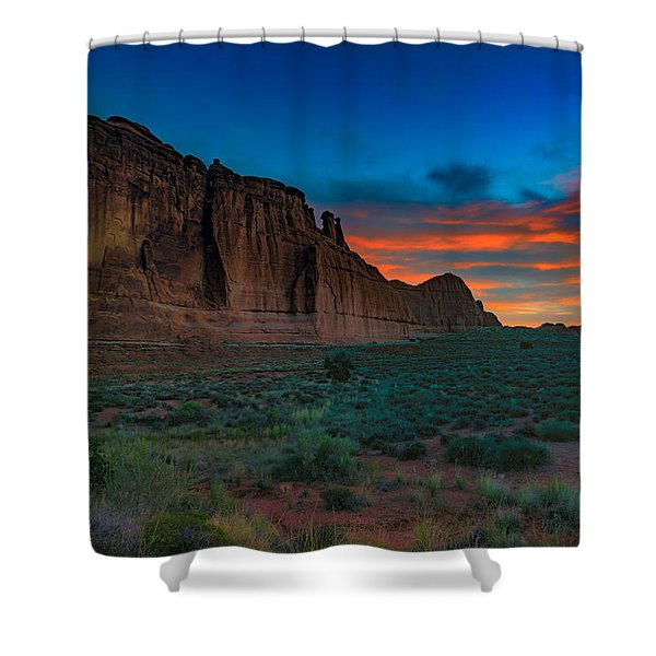 Fire In The Sky At The Tower Of Babel Shower Curtain