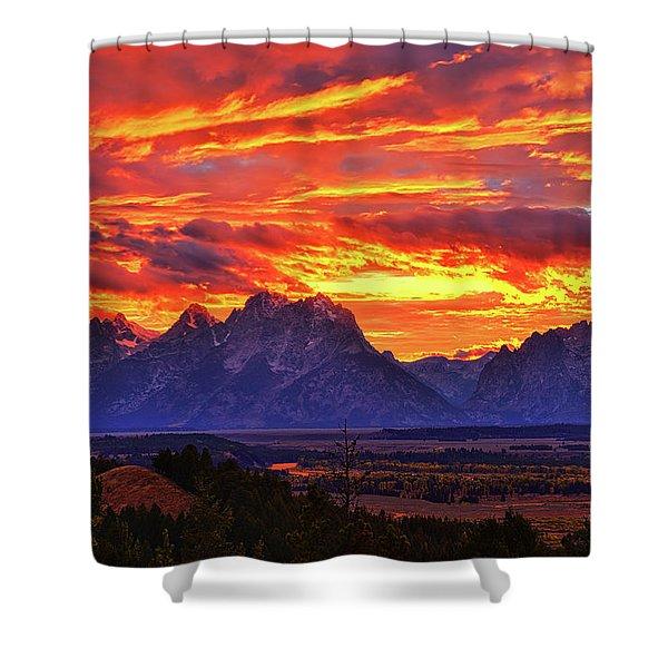 Fire In The Teton Sky Shower Curtain