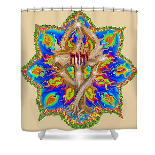 Fire Tree With Yhwh Shower Curtain