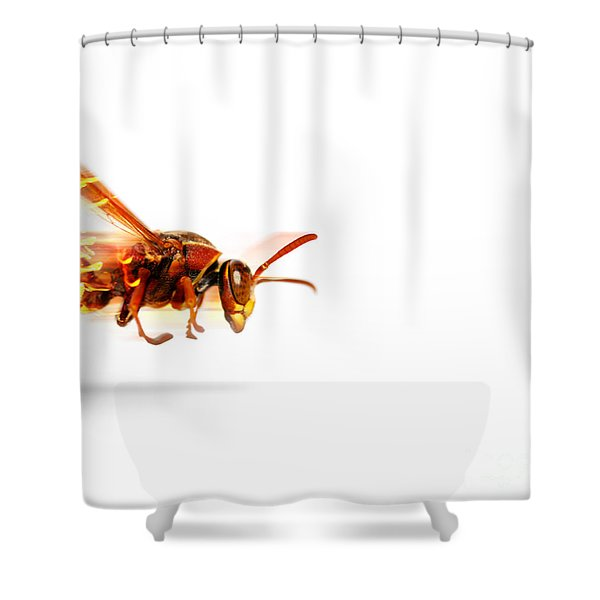 Fire Wasp Racing At Scorching Speed Shower Curtain