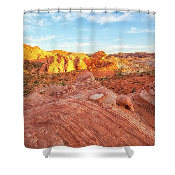 Fire Wave In Vertical Shower Curtain