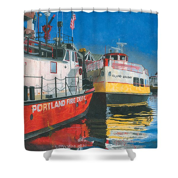 Shower Curtain featuring the painting Fireboat And Ferries by Dominic White