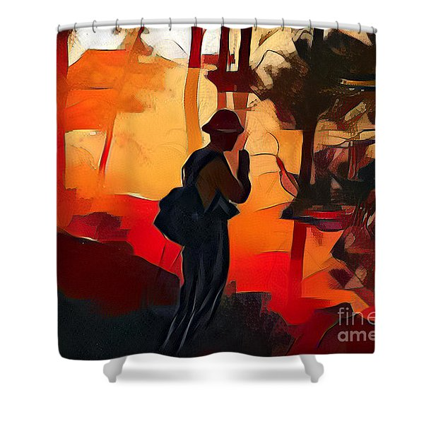 Firefighter On White Draw Fire Shower Curtain