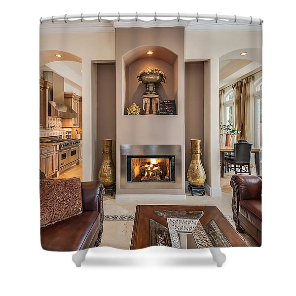 Shower Curtain featuring the photograph Fireplace by Jody Lane