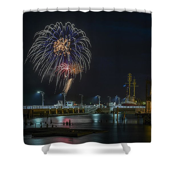 Fireworks And 17th Street Docks Shower Curtain