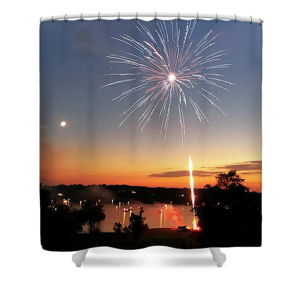 Fireworks And Sunset Shower Curtain