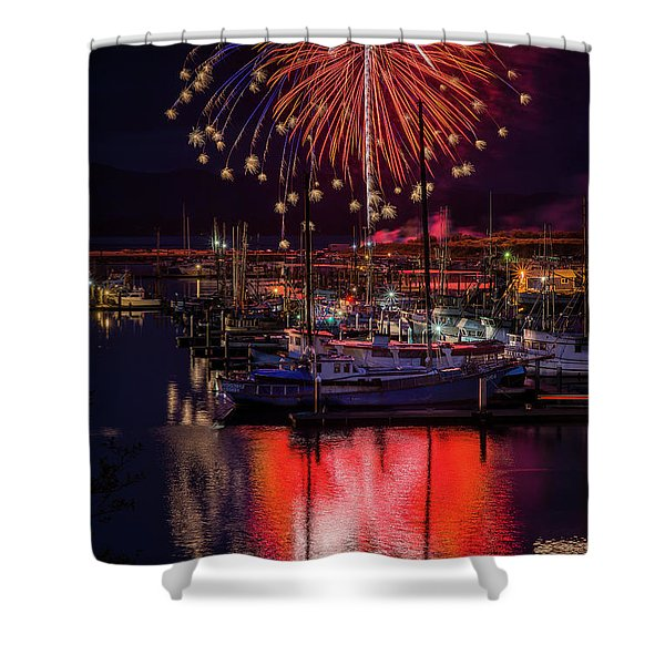 Fireworks At The Docks Shower Curtain