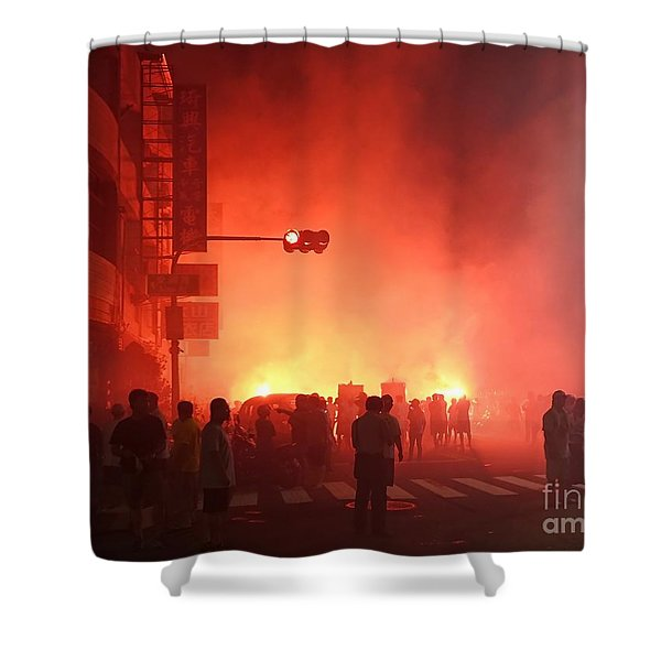 Fireworks During A Temple Procession Shower Curtain