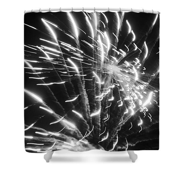 Fireworks In Black And White 2 Shower Curtain