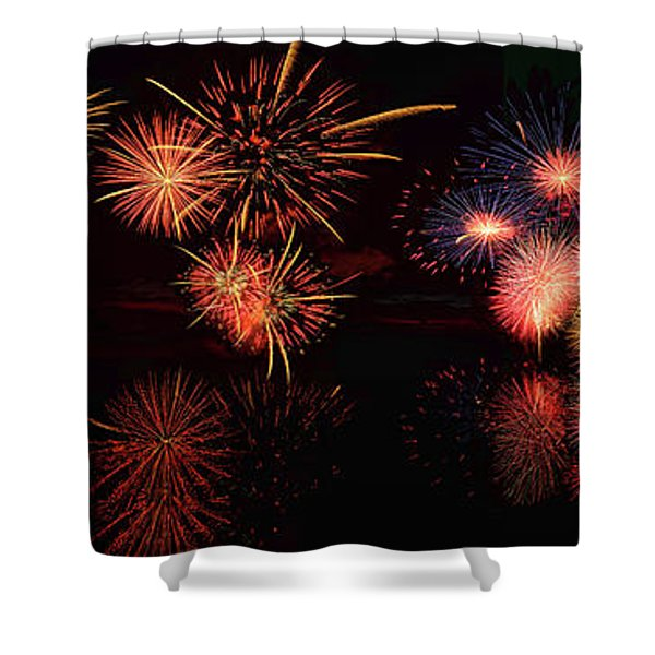 Fireworks Reflection In Water Panorama Shower Curtain