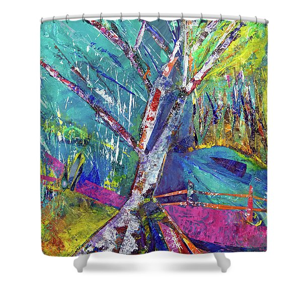 Firey Birch Shower Curtain