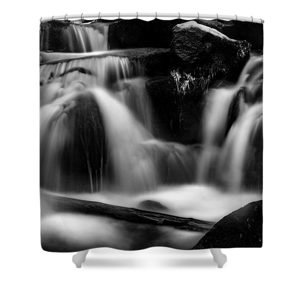 first crystals on the Bodefall, Harz Shower Curtain