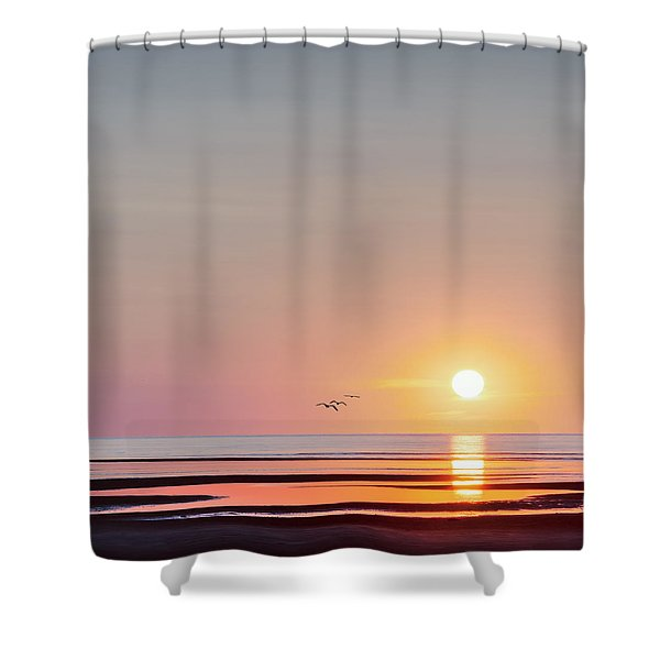 First Encounter Beach Cape Cod Square Shower Curtain
