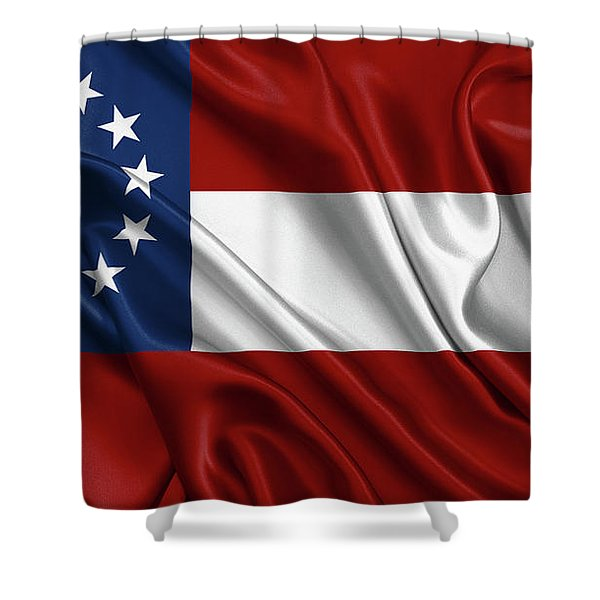 First Flag Of The Confederate States Of America - Stars And Bars 1861-1863 Shower Curtain
