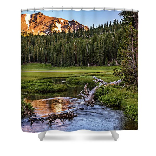 First Light On Lassen From Upper Meadow Shower Curtain