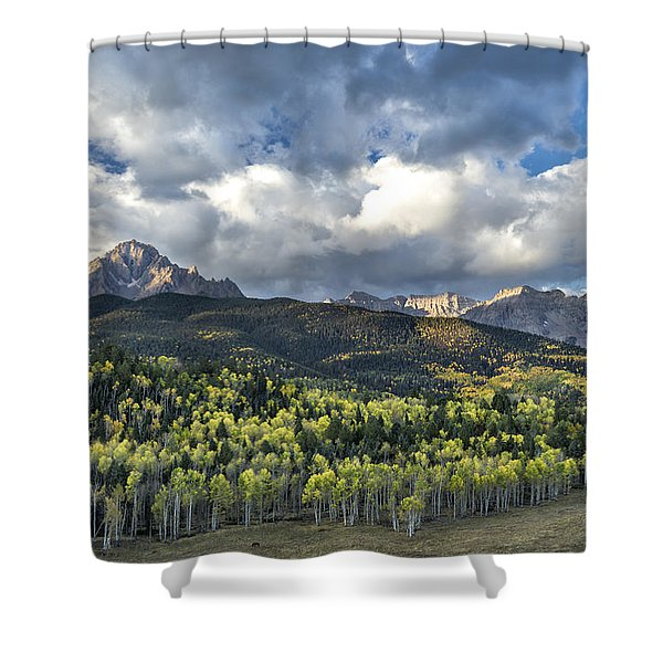First Light On The Sneffels Range Shower Curtain