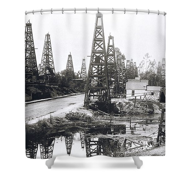 First Los Angeles Residential Oil Field C. 1895 Shower Curtain