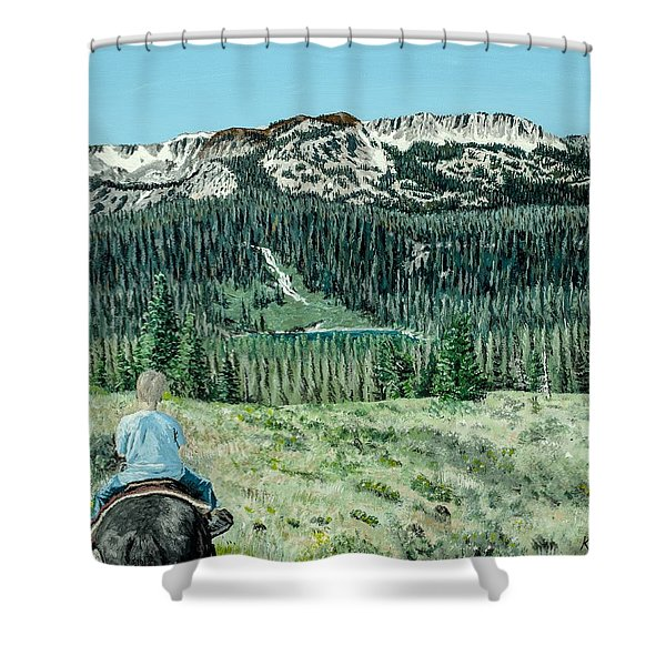 Shower Curtain featuring the painting First Ride by Kevin Daly