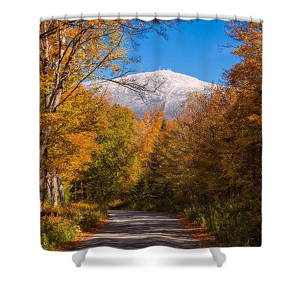 Shower Curtain featuring the photograph First Snow And Fall Foliage Mount Washington by Jeff Sinon