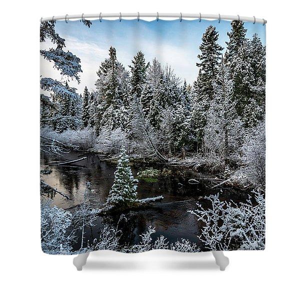 First Snow On Grand Marais Creek Shower Curtain