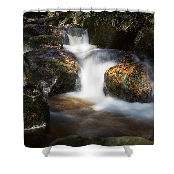 first spring sunlight on the Warme Bode, Harz Shower Curtain