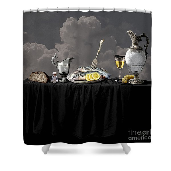 Fish Diner In Silver Shower Curtain