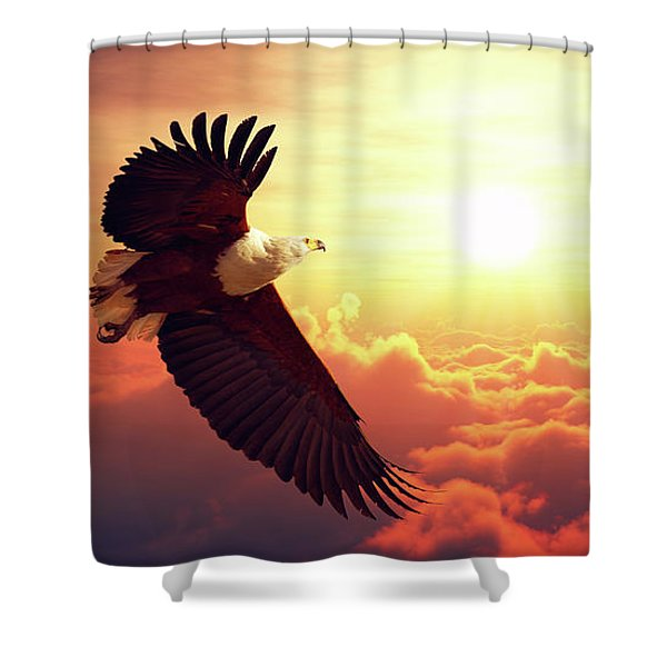 Fish Eagle Flying Above Clouds Shower Curtain