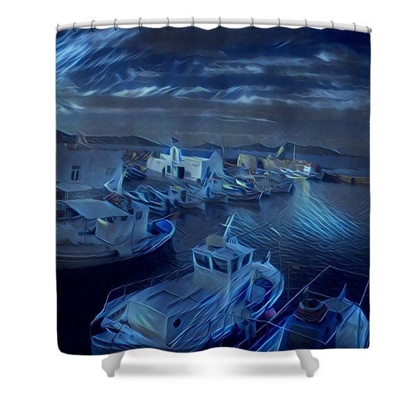 Fish Harbour Paros Island Greece Shower Curtain