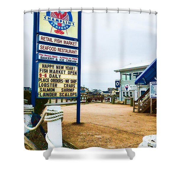 Shower Curtain featuring the photograph Fish Market And Seafood Restaurant by Nancy De Flon