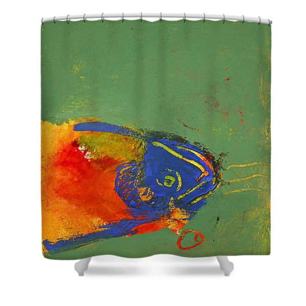 Shower Curtain featuring the painting Fish Pondering The Anomaly Of Mans Anamnesis by Cliff Spohn