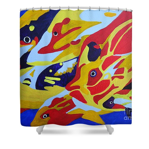 Fish Shoal Abstract 2 Shower Curtain
