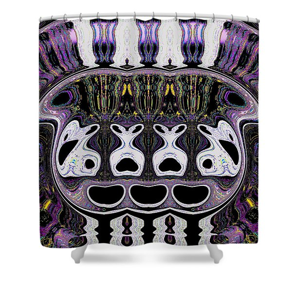 Shower Curtain featuring the digital art Fishbowl by Visual Artist Frank Bonilla